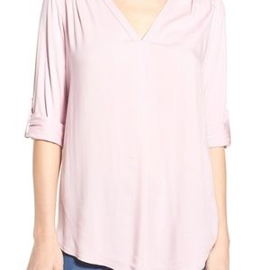 Pleione Nordstrom Mixed Media Tunic Blush Pink